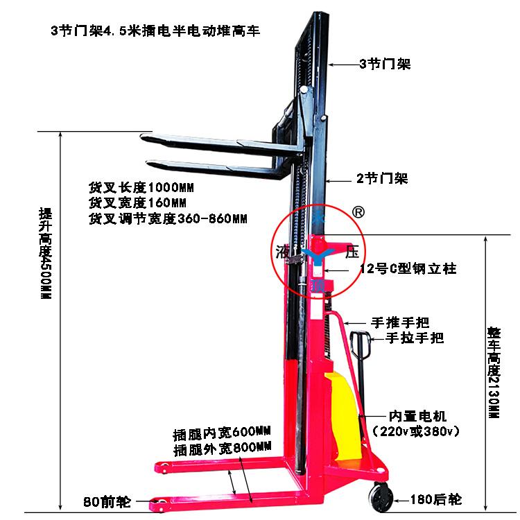 4.5米3节门架插电式半电动堆高叉车